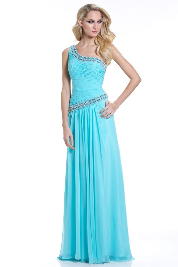Clomn Beaded One Shoulder Blue Prom Dress | Prom Dresses | Pinterest ...