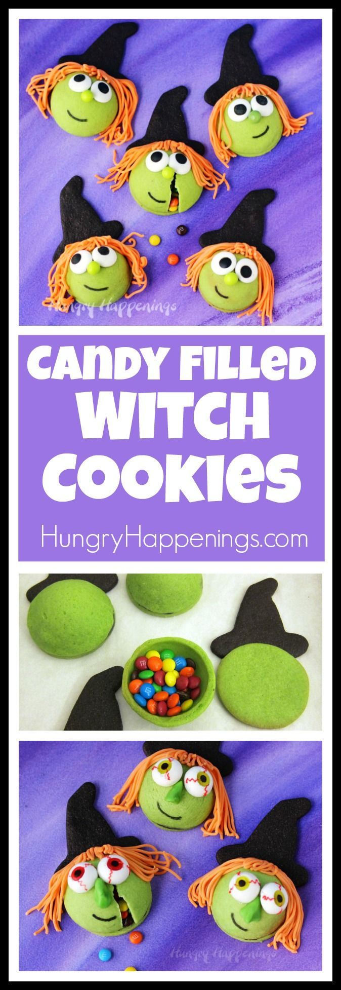 make cute or kooky candy filled witch cookies for your halloween
