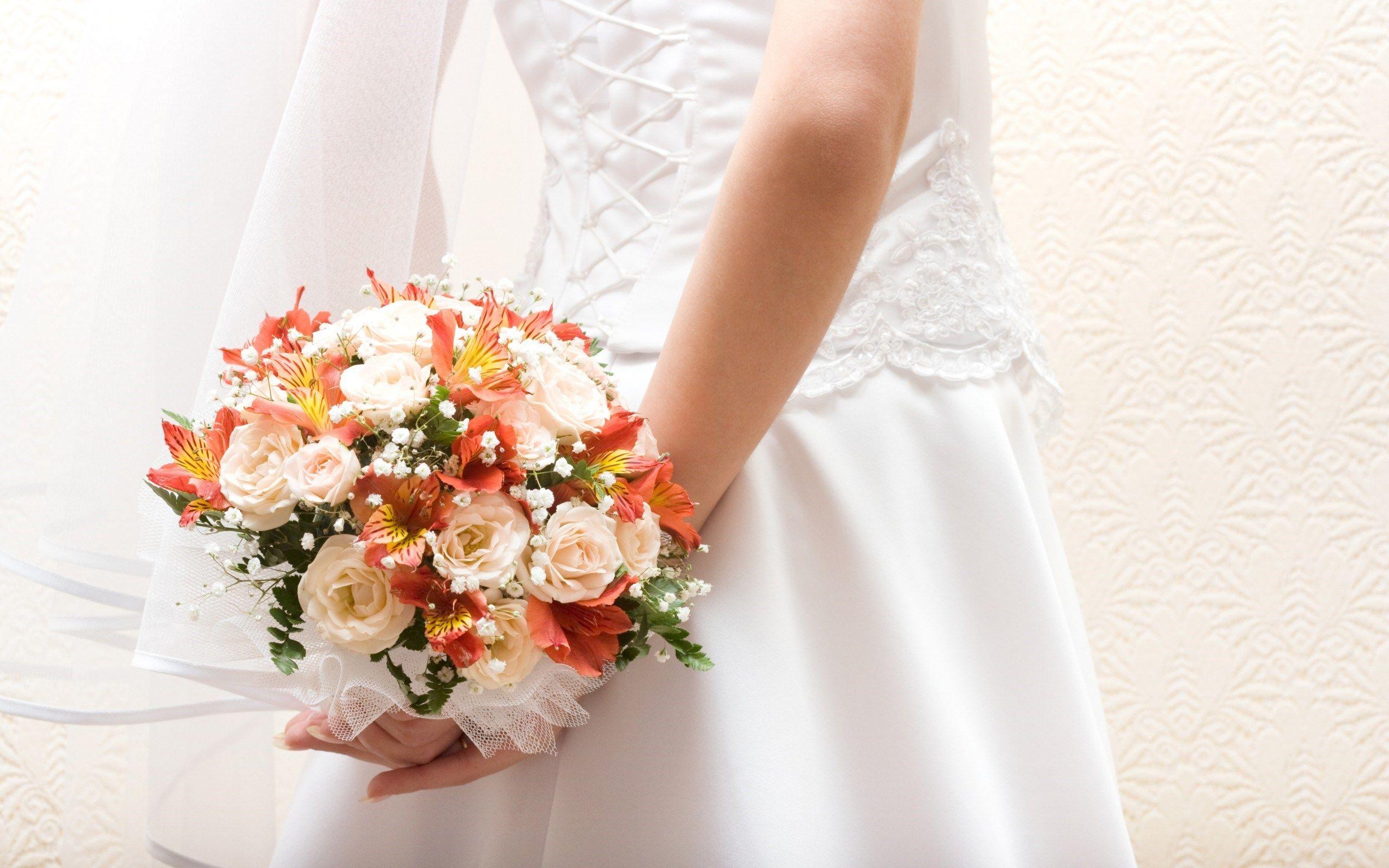 Bride Dress Flowers Hd Wallpaper Hdwalltop Com Wedding Dresses