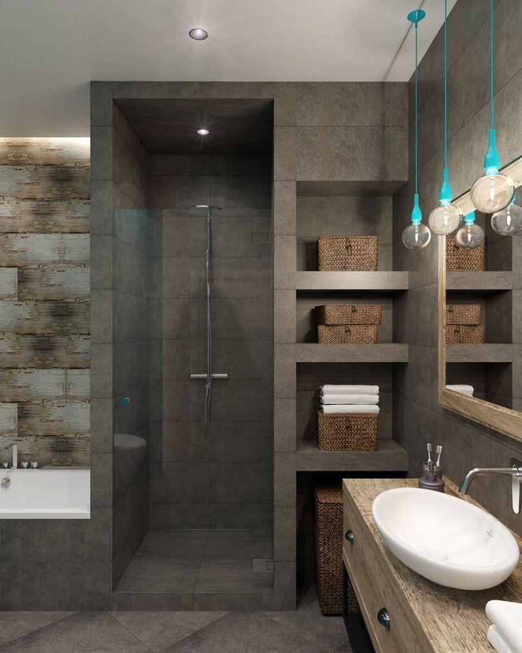 Photo of Beispiel einer ebenerdigen Dusche und Badewanne in einem kleinen Badezimmer