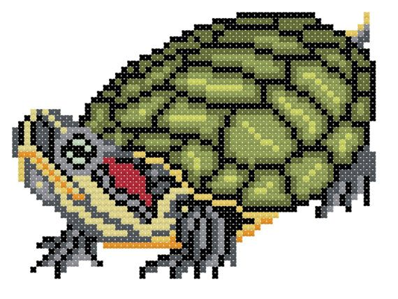 Red Eared Slider cross stitch chart by 5PrickedFinger5 on Etsy, $3.25