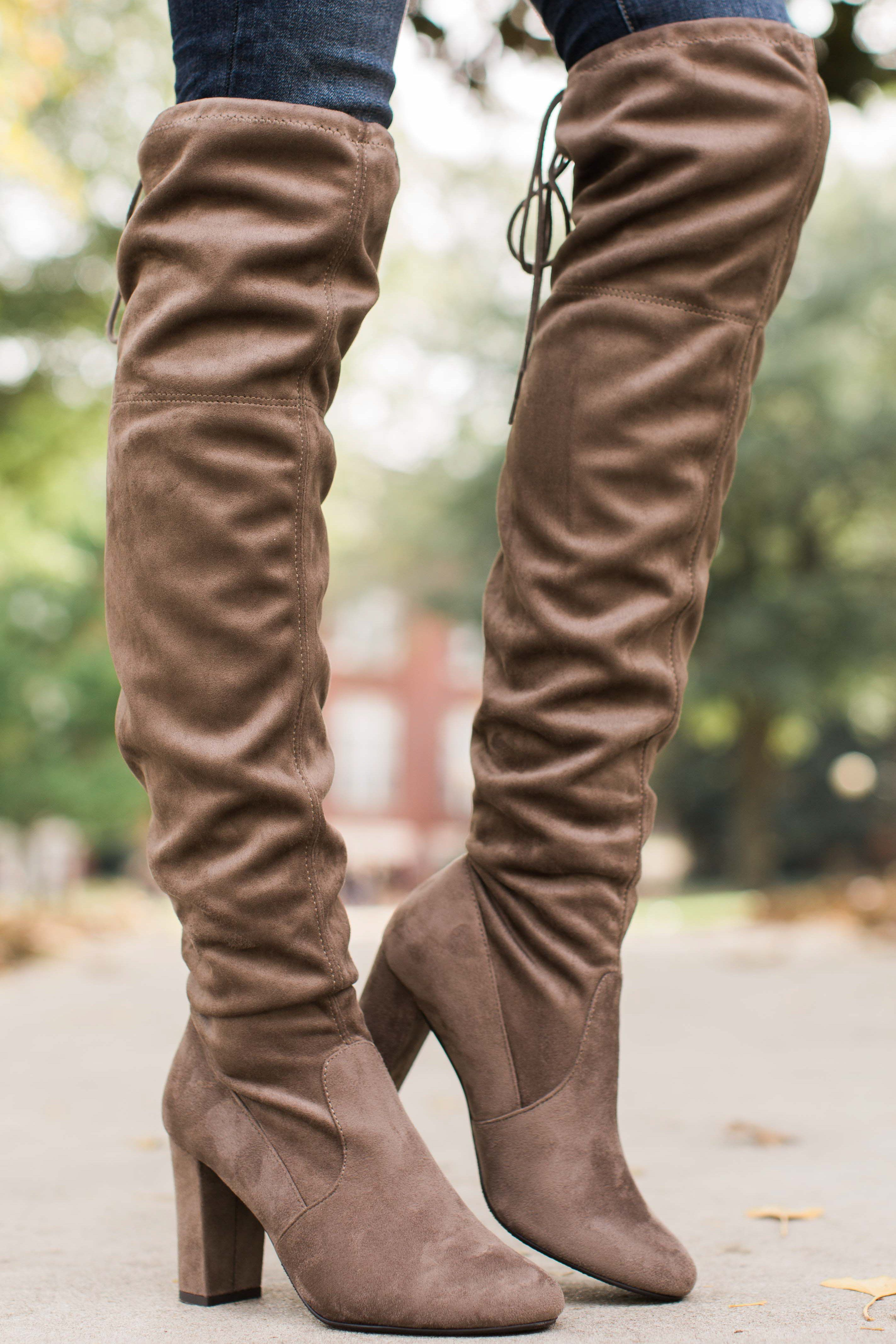 bcfa04426 Great Strides Taupe Knee High Boots, formed from soft, stretchy vegan suede  and feature an almond toe and a block heel. Boots feature laces that tie at  the ...