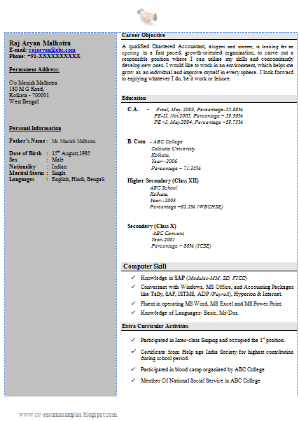 free download resume sample for ca fresher with cover