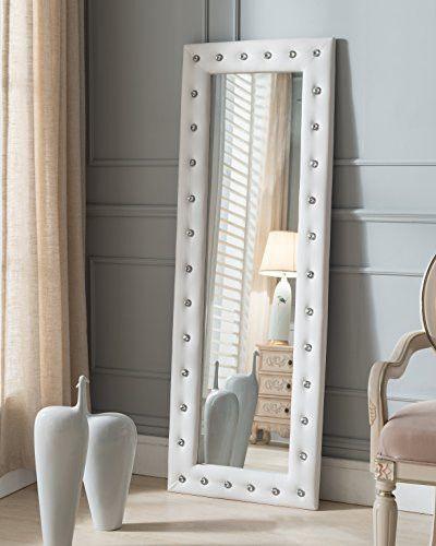 Kings Brand White Modern Upholstered Tufted Standing Floor Mirror ...