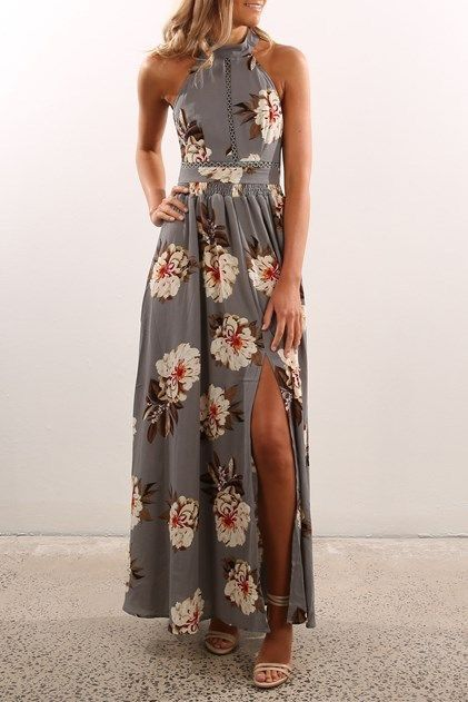 **** Try Stitch Fix today to receive on trend looks like this beautiful maxi! Obsessing over this is beautiful grey floral halter maxi with gorgeous waist and bodice details and sexy side slit. Want ASAP! Floral is everywhere this spring, get your styles today!! Stitch Fix Fall, Stitch Fix Spring 2016 2017. Stitch Fix Fall Spring fashion. #StitchFix #Affiliate #StitchFixInfluencer
