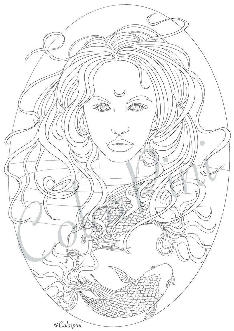 Fish Melancholia Princess Coloring Pages Download Printable File Pdf In 2021 Malvorlage Prinzessin
