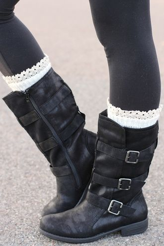 Charlie Three Buckle Suede Wash Mid Calf Boots Black