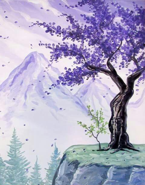 Wasnt There A Cherry Blossom Tree Like This In Kung Fu Panda Canvas Art Tree Painting Night Painting
