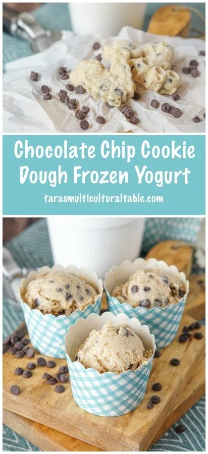 Chocolate Chip Cookie Dough Frozen Yogurt - Tara's Multicultural Table #chocolatechipcookiedough