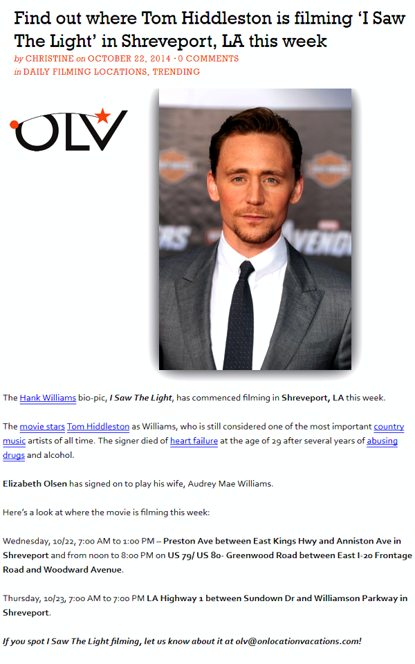 I Saw The Light Filming Locations Http Www Onlocationvacations Com 2014 10 22 Find Out Where Tom Hiddleston Is I Saw The Light Shreveport Tom Hiddleston