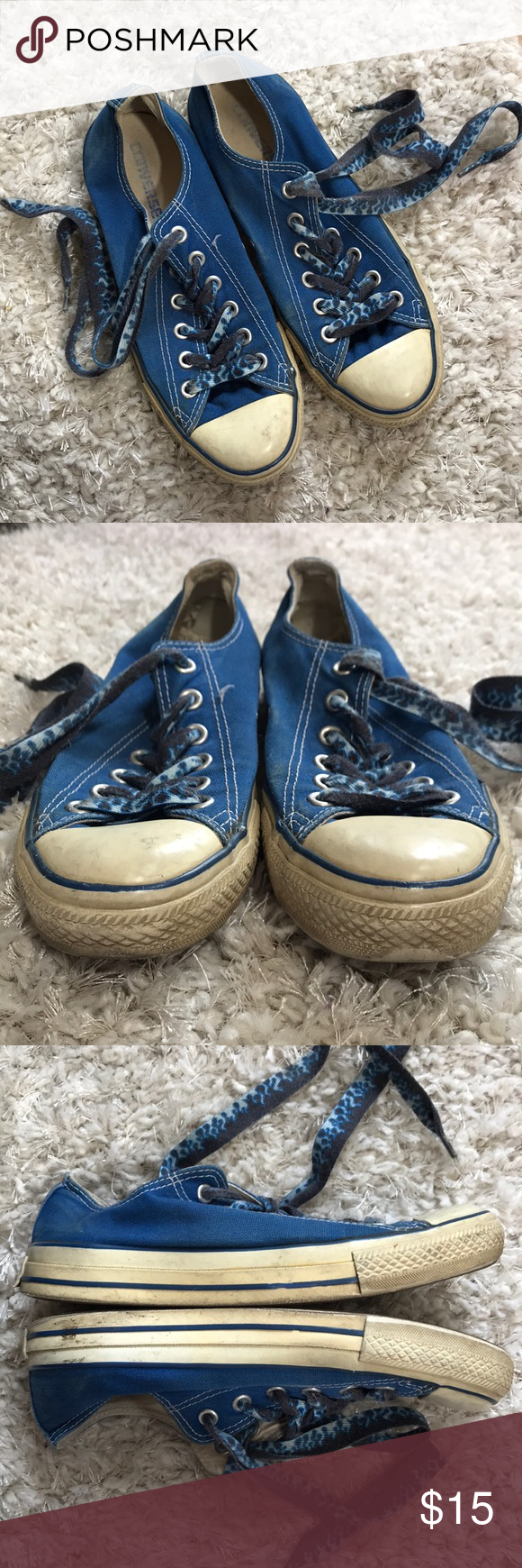 0ee3d70d4bf7 Converse blue with blue flame shoe laces used Chuck Taylor converse used.  Has discoloration from time and wear. Converse Shoes Sneakers