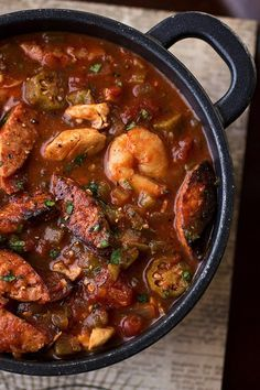 """""""Gumbo-laya"""" Stew with Spicy Sausage, Chicken, with Okra over Fregrant Garlic Rice Can't wait to try this recipe! It's low carb too (minus the rice)"""