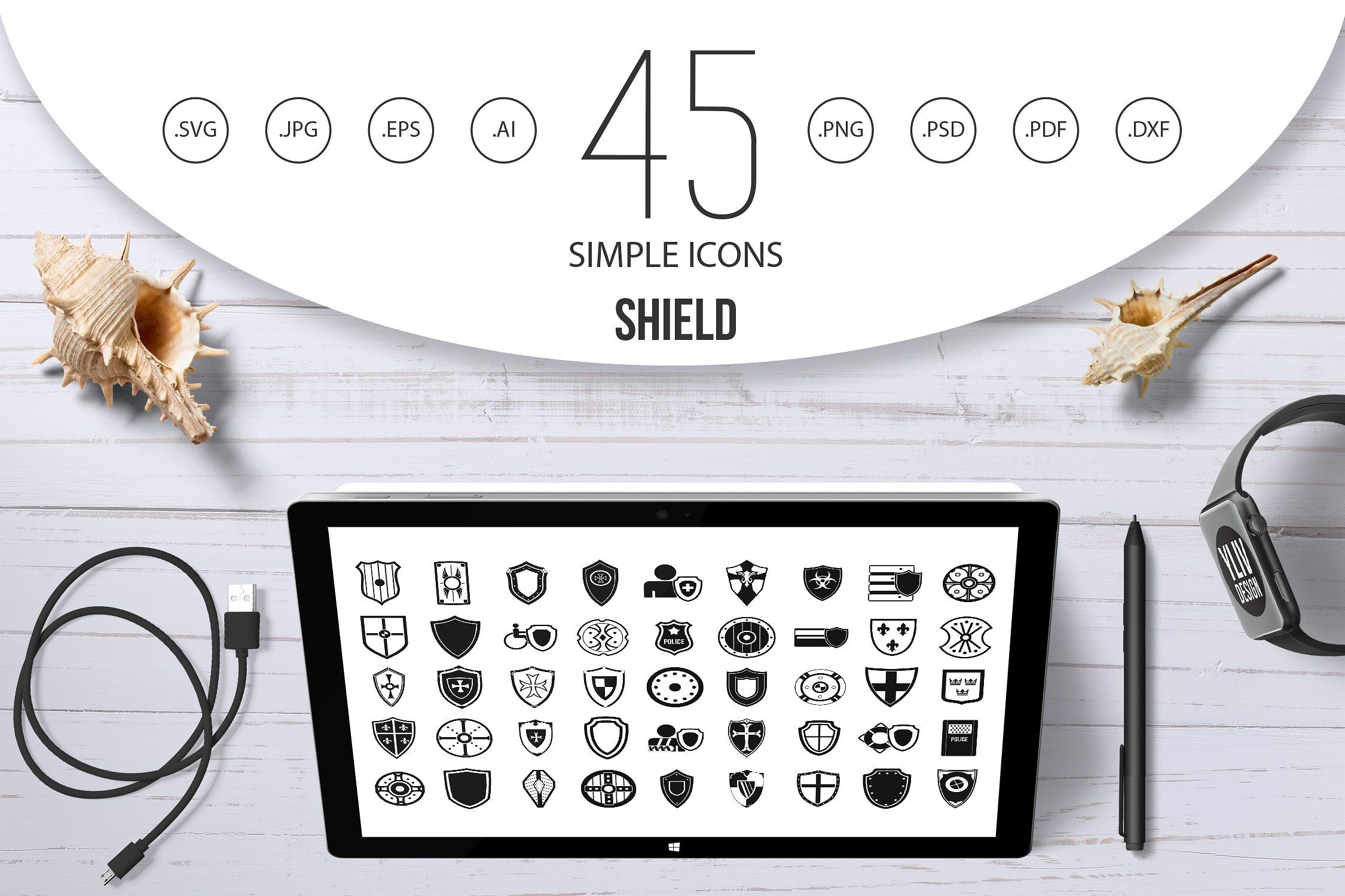Shield Icon Set Simple Style Shield Icon Infographic Design Free Icon Set