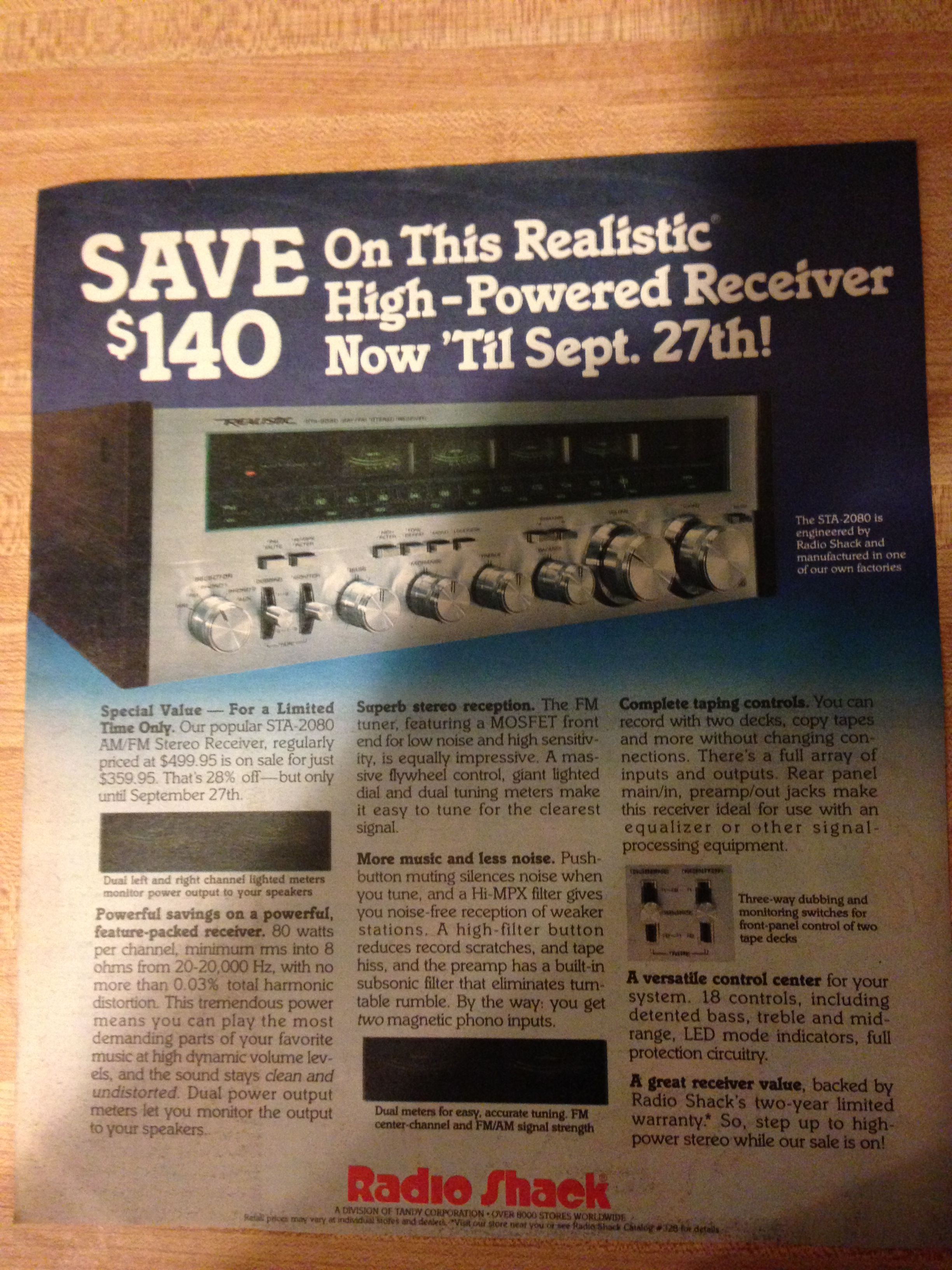 1981 Realistic STA-2080 stereo receiver from Radio Shack ad  Rolling
