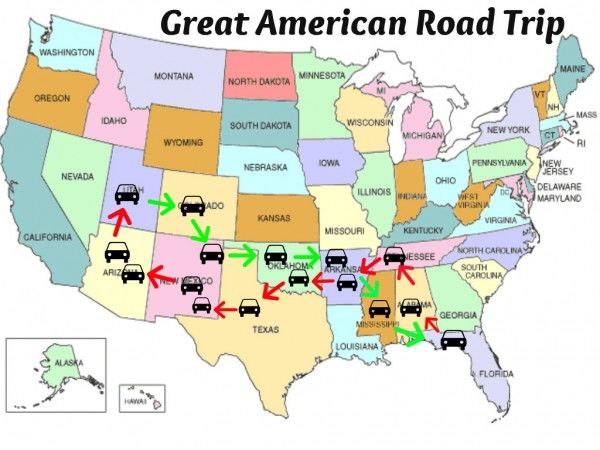 Roadtrip With Boys On Southern Route Good Suggestions On Places To Hit United States Map Great American Road Trip Printable Maps