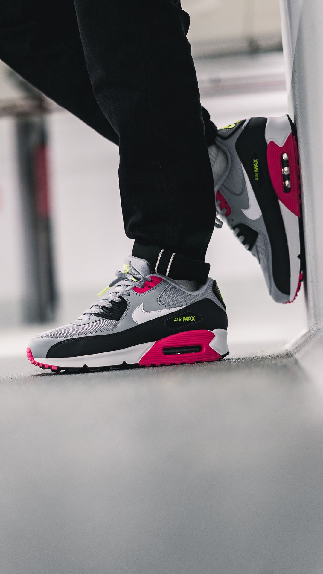 324ea599124a1 This new version of the AM90 features a upper made of leather and nylon,  and a dope colorway in grey, pink and black. The Air Max 90 also included  ribbed ...