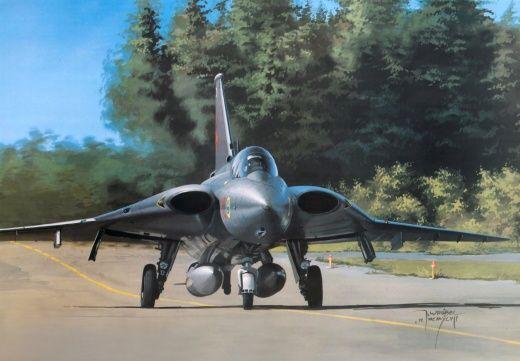 Airplane Painting Art SAAB-Scania Ja-35 Draken Aviation | Aircraft