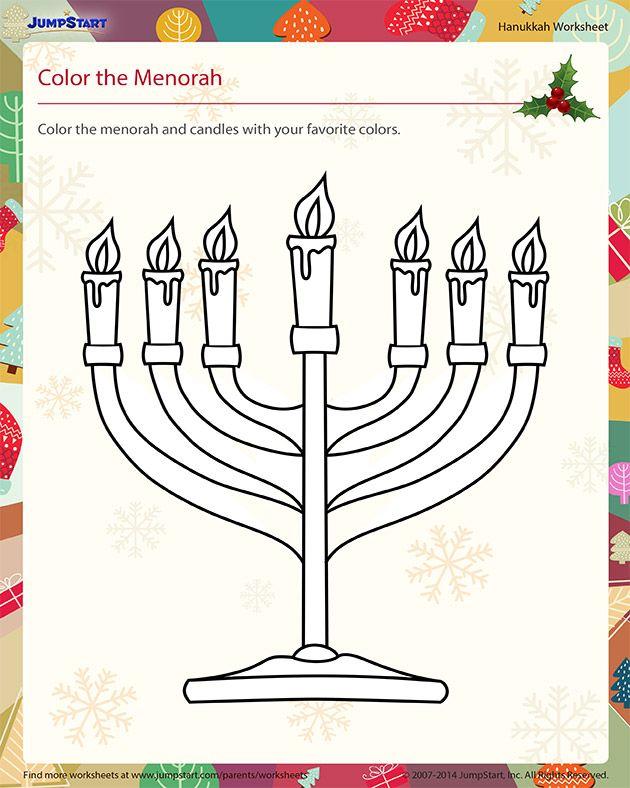 Color the Menorah - Download Free Hanukkah Worksheet ...