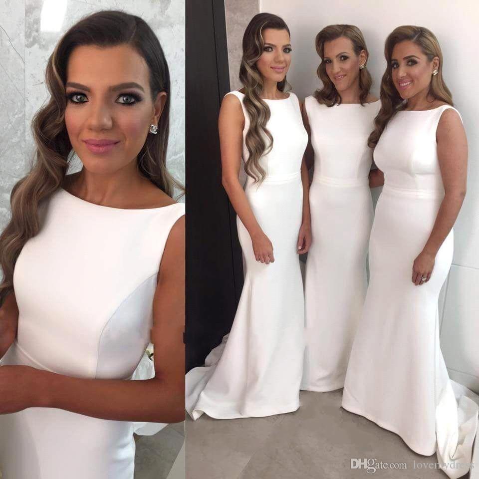 White sheath style dress for wedding elegant bridesmaid bateau white sheath style dress for wedding elegant bridesmaid bateau neck sleeveless sweep trian simple dress for women cheap price top ombrellifo Gallery