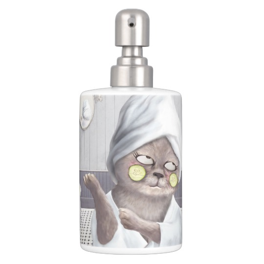 Funny Cat In Bathroom Bath Set Zazzle