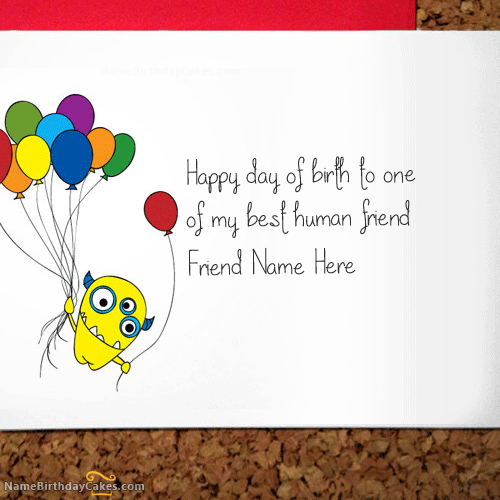 Write Name On Crazy Birthday Card for Friend – Write in Birthday Card