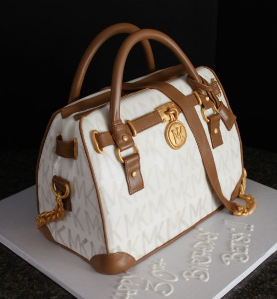 3fbd2bfbfd Handpainted Michael Kors purse cake with chocolate trim and edible gold  hardware