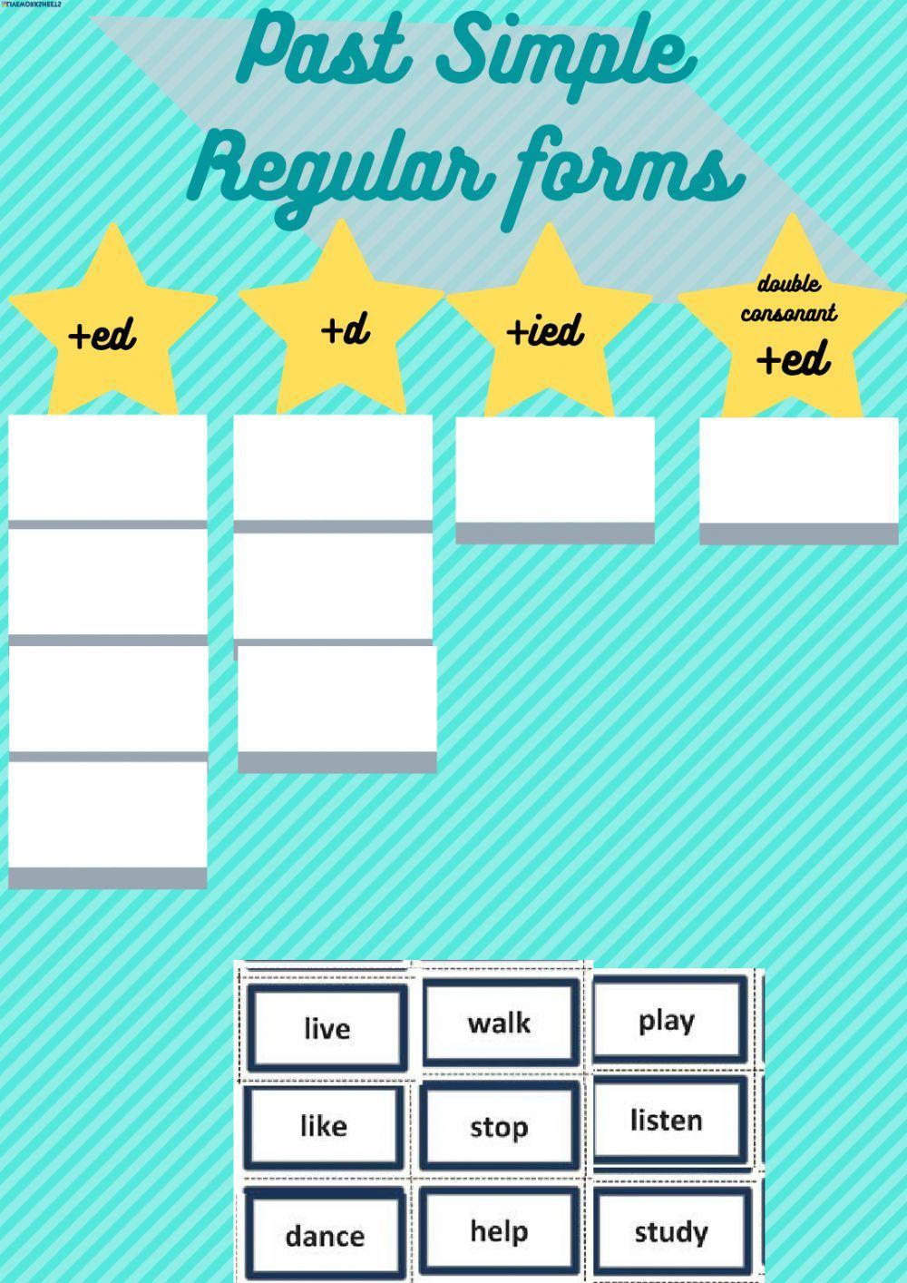 Past simple regular verbs ending interactive worksheet