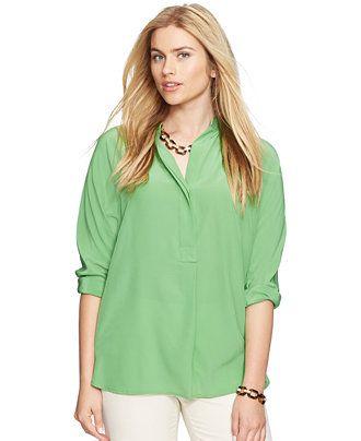 Lauren Ralph Lauren Plus Size Silk Split-Neck Tunic - Lauren Ralph Lauren - Plus Sizes - Macy's