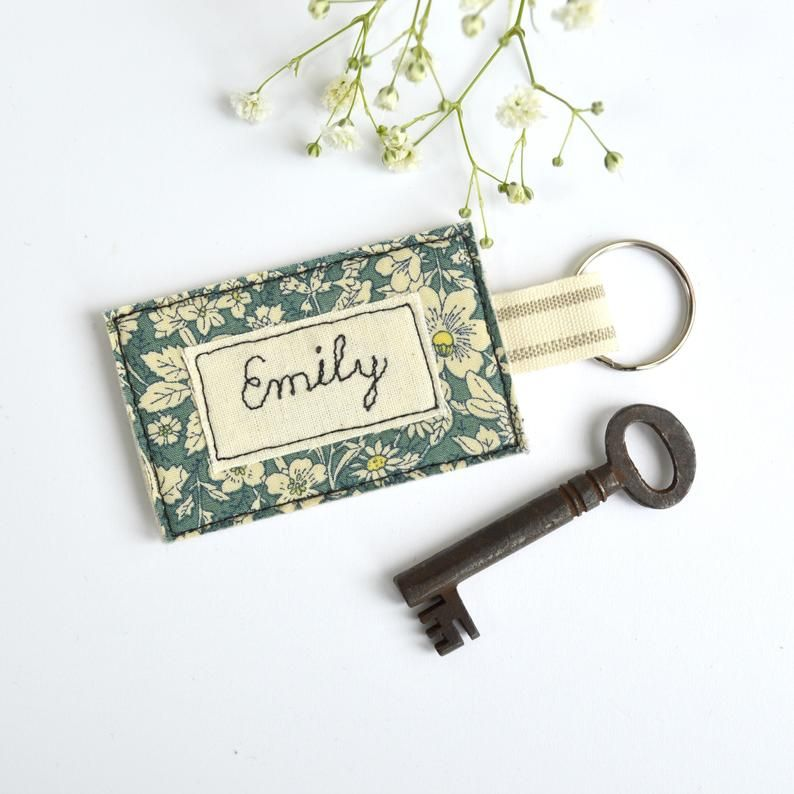 Personalized Key Fob Embroidered Keychain Personalised Keyring New Home Key Ring Embroidery Key Chain Fabric Keyring Housewarming Gift Personalized Key Fob Embroidered Gifts Personalized Embroidered