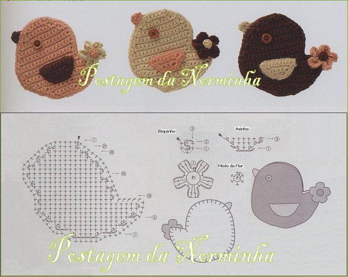 Bird Applique - Free Crochet Chart | Crochet | Pinterest | Croché ...