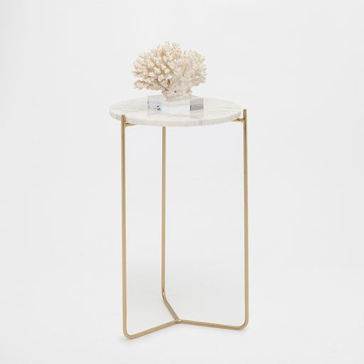 Image of the product Round white marble side table