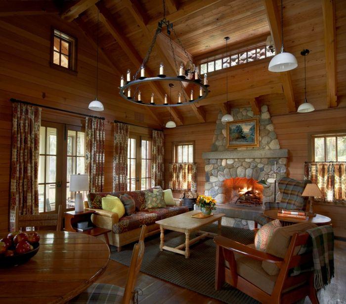 1001 conseils et id es pour am nager un salon rustique salons rustiques toiture en bois et - Salon rustique ...