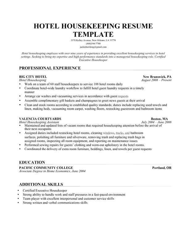 Resume Effective Hotel Housekeeping Templateg Housekeeper Sample