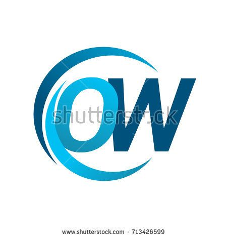 initial letter OW logotype company name blue circle and swoosh design.  vector logo for business and company identity.