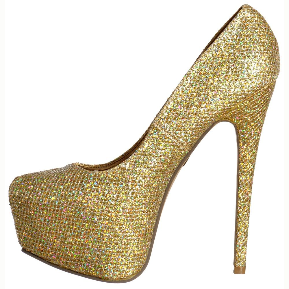 Shoekandi Sparkly Gold Glitter Shimmer High Heel Stiletto ...