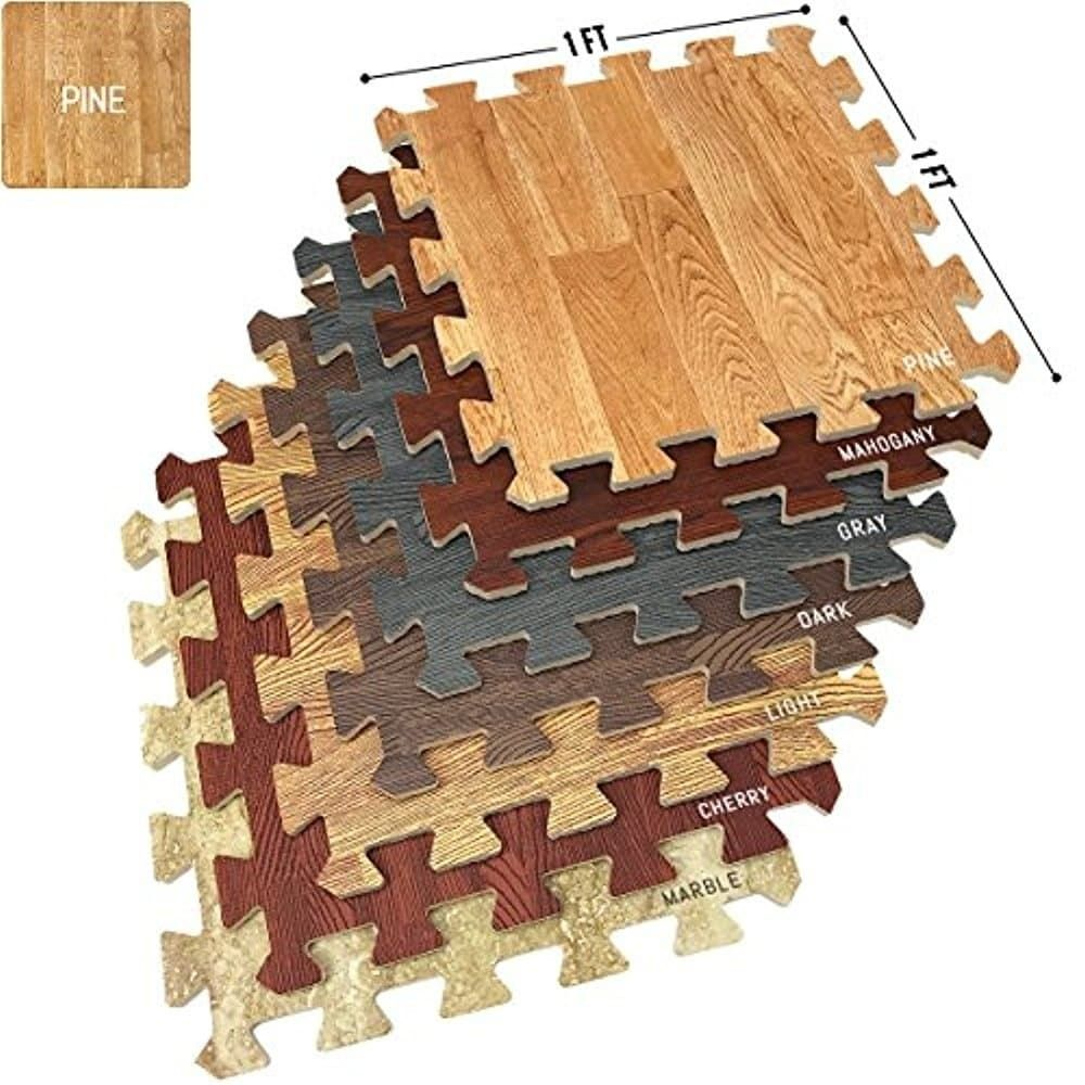 Interlocking Floor Mat Pine Wood Print 16 Pieces 12x12 Brown