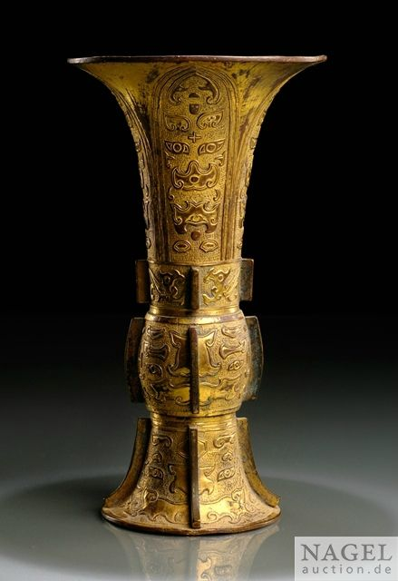 A fine gilt-bronze vase in gu form, China, 17th century
