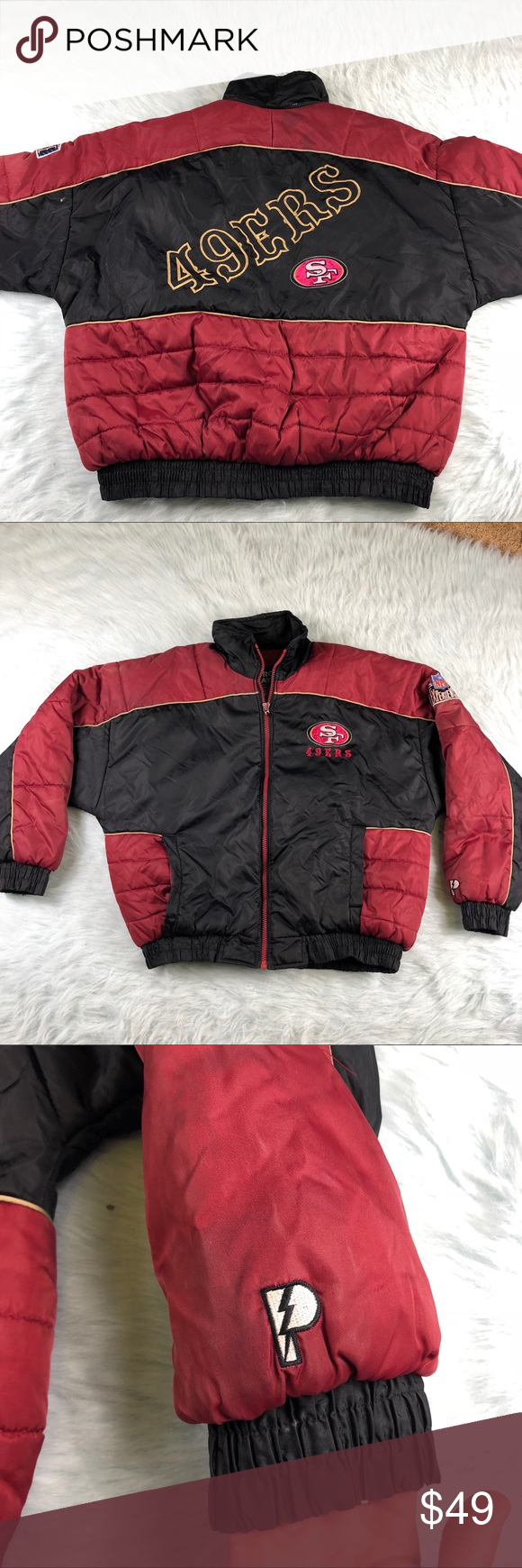 best sneakers 92101 a505b Vintage Pro Player NFL 49ers Puffer Jacket Mens XL Men's ...