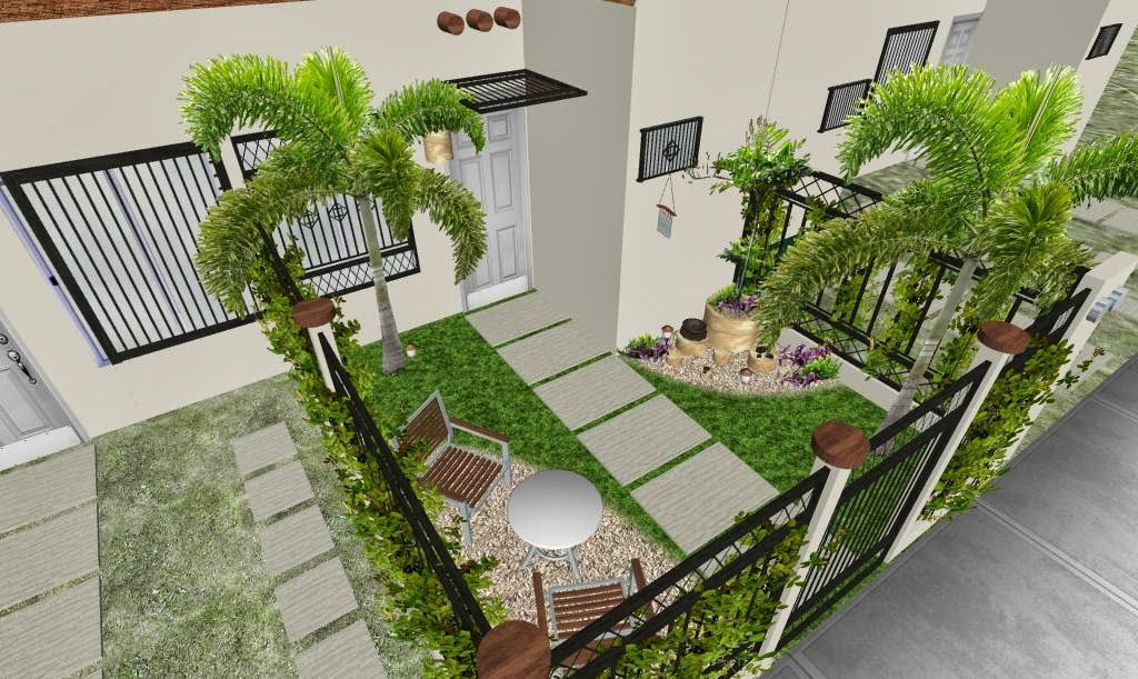 Dise o 3d jard n peque o fachada foto 2 jard n moderno for Disenos para jardines exteriores