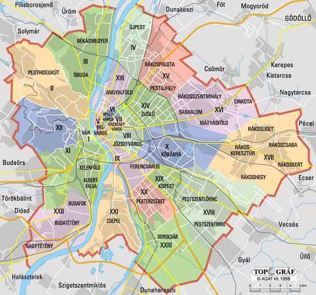 Districts Map Budapest Terkep Varos Budapest