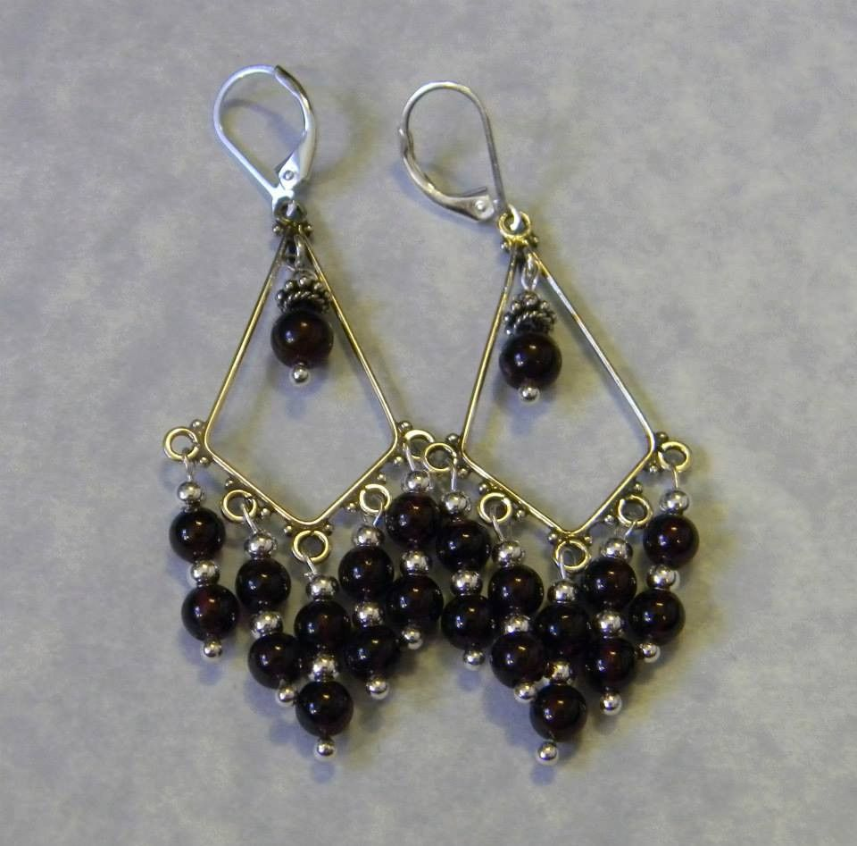 Wire Wrapping · Garnet And Silver Bead Chandelier Earrings