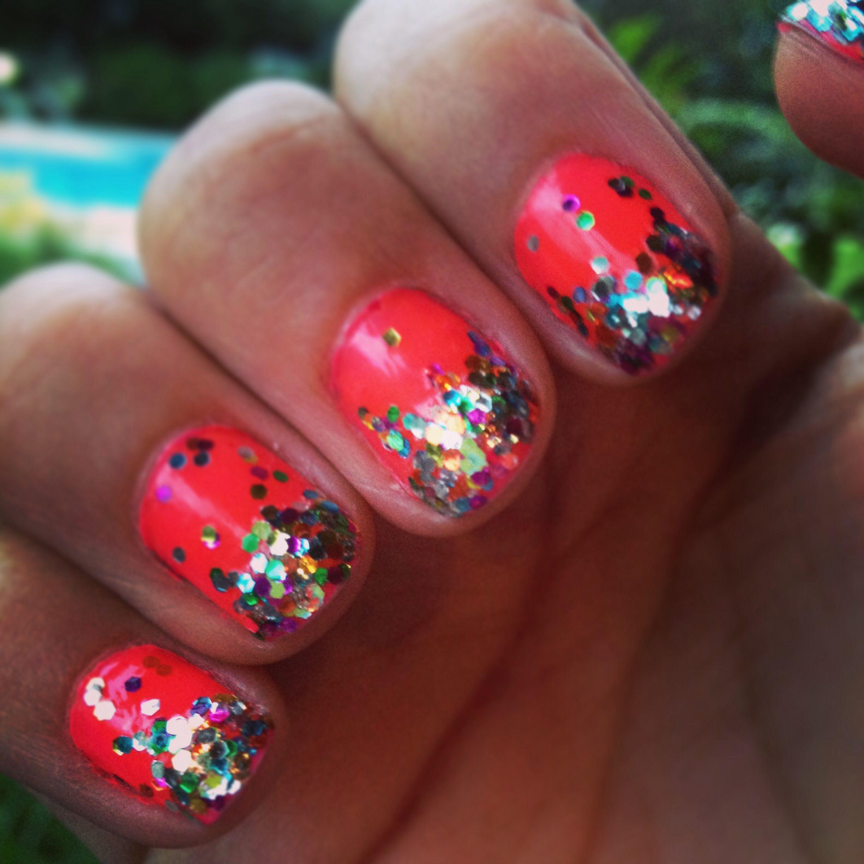 Nails nail art glitter ombre degrade confetti pink hot neon nails