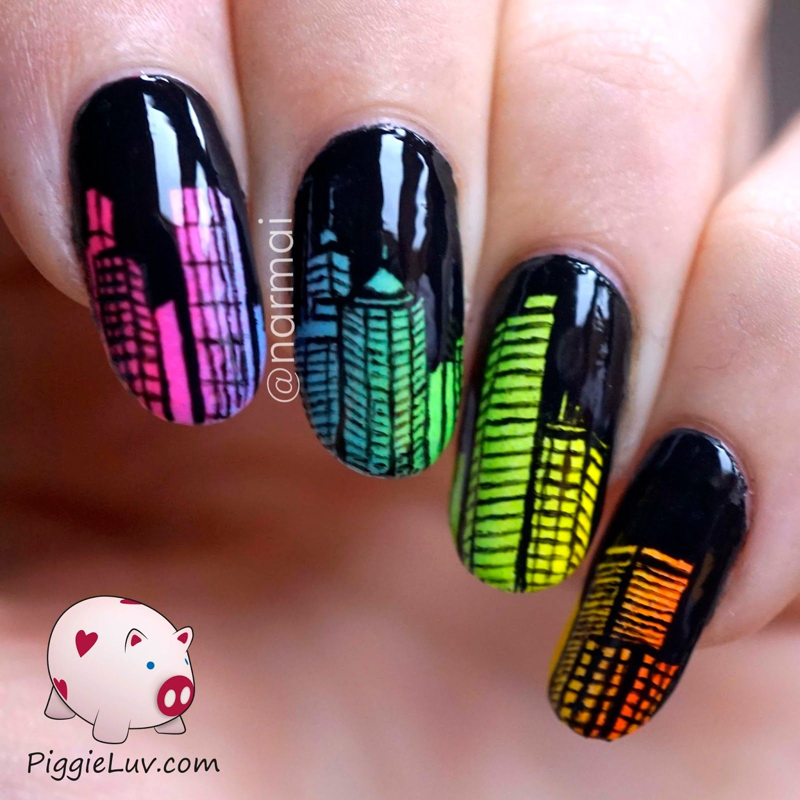 Glow In The Dark City Skyline Nail Art Nail Art Images Nail Art Nails