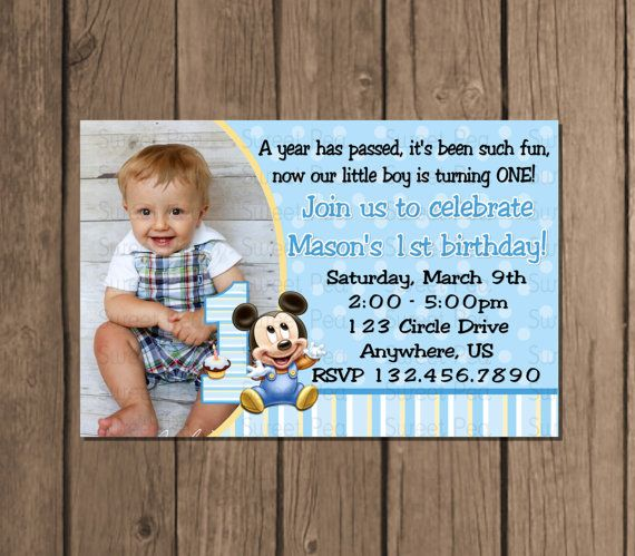 Baby Mickey Mouse Boy 1st First Birthday By Sweetpeaprintz