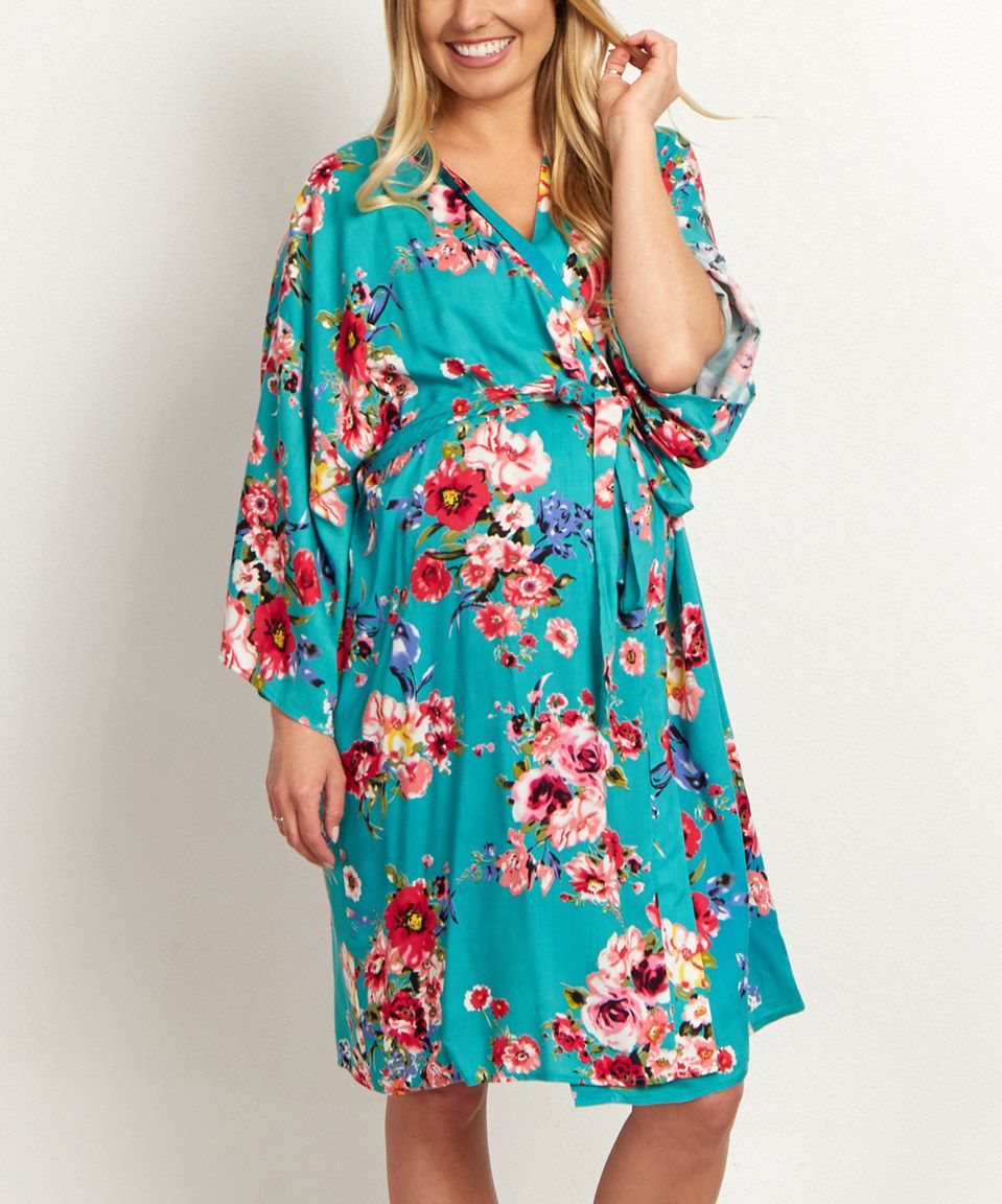 e88aac3798f01 PinkBlush Jade Floral Maternity Dressing Robe by PinkBlush Maternity  #zulily #zulilyfinds