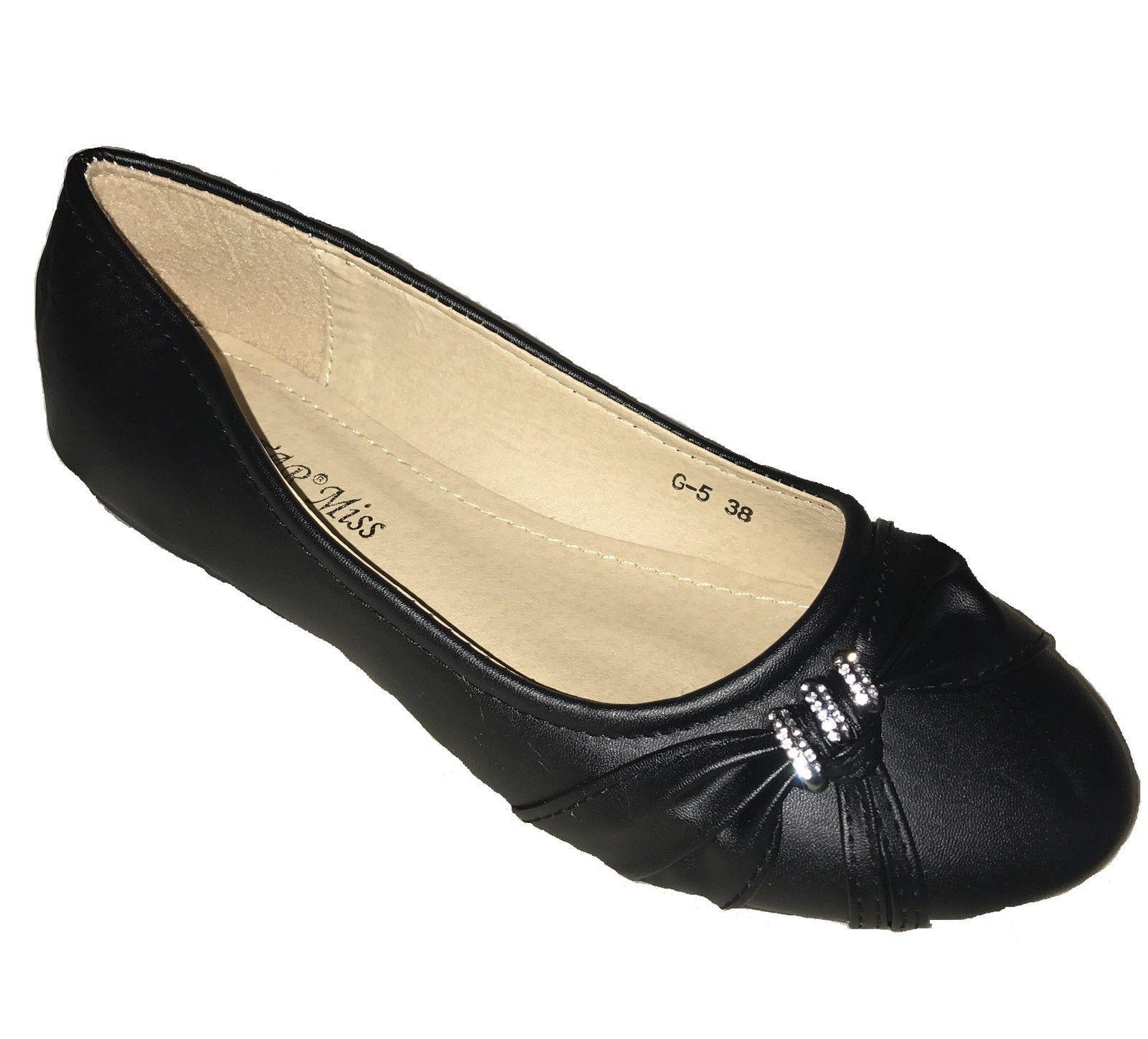 Womens Black Diamante Flat Dolly Ballet