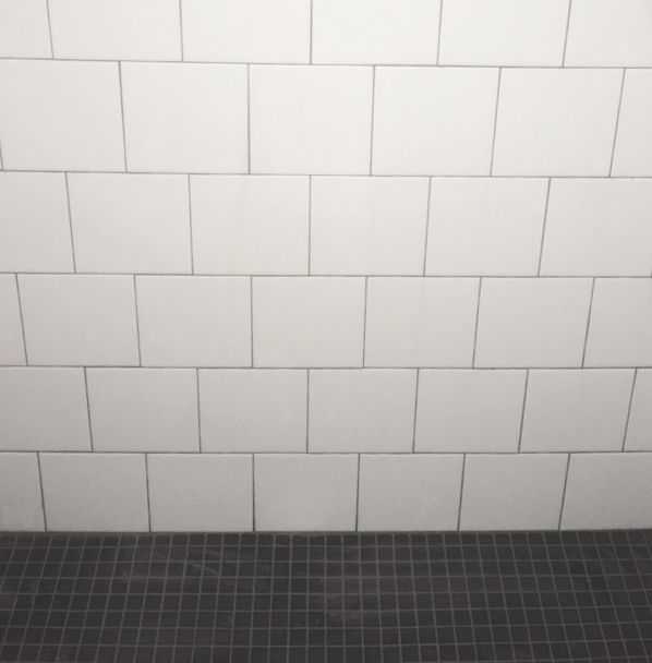 6x6 offset white wall tile with black 1x1 mosaic floor for Masters wall tiles