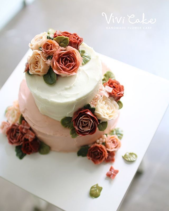 korean wedding cake designs buttercream flowercake class done by student 비비케이크 16659
