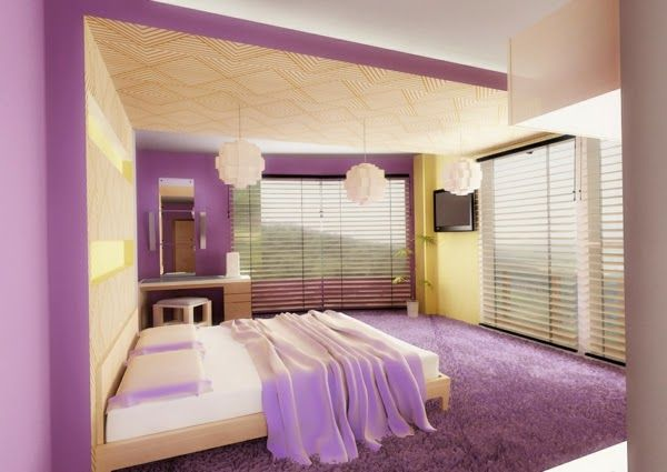 See The Numerous Examples Of Purple Bedroom Ideas Of Curtains, Wall  Painting, Furniture And