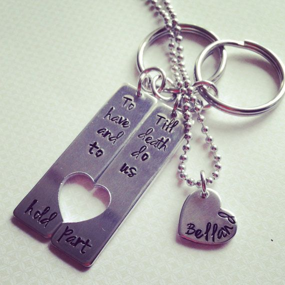 Hey, I found this really awesome Etsy listing at https://www.etsy.com/listing/184344385/hand-stamped-couples-key-chain-set-to